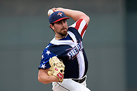 Starting pitcher Blake Taylor (28) of the Columbia Fireflies in a game against the Rome Braves on Monday, July 3, 2017, at Spirit Communications Park in Columbia, South Carolina. Columbia won, 1-0. (Tom Priddy/Four Seam Images)