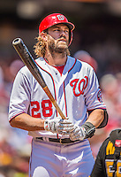 25 July 2013: Washington Nationals outfielder Jayson Werth stands on deck during a game against the Pittsburgh Pirates at Nationals Park in Washington, DC. The Nationals salvaged the last game of their series, winning 9-7 ending their 6-game losing streak. Mandatory Credit: Ed Wolfstein Photo *** RAW (NEF) Image File Available ***