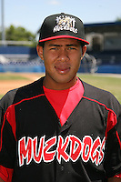 June 16, 2009:  Ivan Castro of the Batavia Muckdogs poses for a head shot before the teams practice at Dwyer Stadium in Batavia, NY.  The Batavia Muckdogs are the NY-Penn League Single-A affiliate of the St. Louis Cardinals.  Photo by:  Mike Janes/Four Seam Images