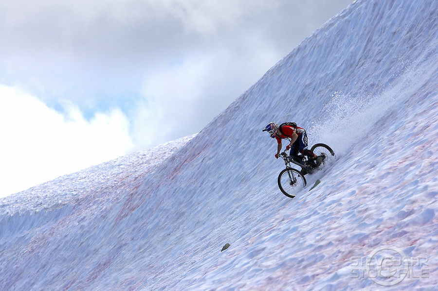Arran Gannicot.High Alpine snow biking..Whistler , Canada , July 2007..pic copyright Steve Behr / Stockfile