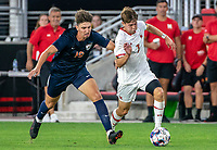WASHINGTON, DC - SEPTEMBER 6: Virginia midfielder Chris Scheipe (19) chases after \Maryland forward Hunter George (7) during a game between University of Virginia and University of Maryland at Audi Field on September 6, 2021 in Washington, DC.