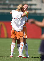 Sky Blue FC's player-coach Christie Rampone, gets a hug from a teammate after a 1-0 victory over the LA Sol to win the WPS Championship match at the Home Depot Center, Saturday, August 22, 2009.
