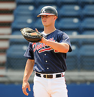 July 15, 2009: Catcher Daniel Elorriaga-Matra (32) of the Danville Braves, rookie Appalachian League affiliate of the Atlanta Braves, before a game at Dan Daniel Memorial Park in Danville, Va. Photo by:  Tom Priddy/Four Seam Images