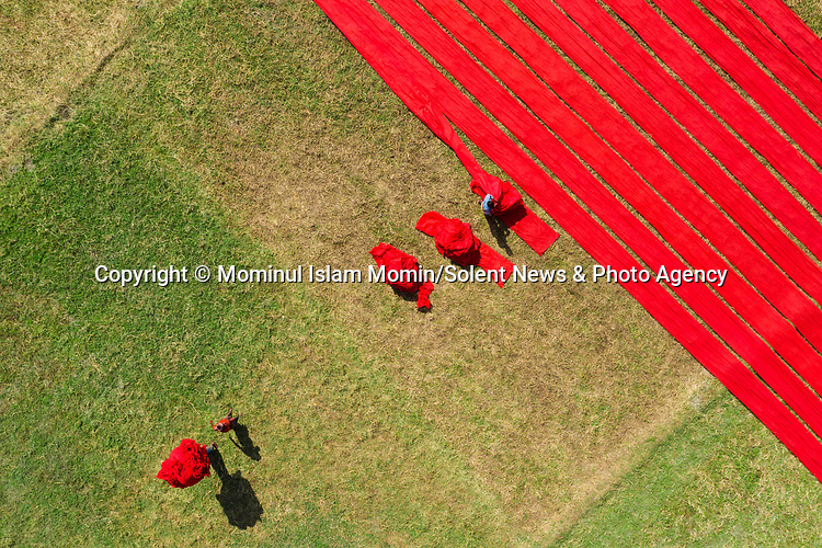 Pictured:  Hundreds of workers lay out strips of cotton to dry in Bangladesh.<br /> <br /> Bangladeshi journalist Mominul Islam Momin, 38, took amazing aerial photos showing the vibrant colours of the red-dyed fabrics drying in the setting sun.<br /> <br /> This is an example of the booming textile industry in Bangladesh's Narsingdi district, with around 500 workers laying out the strips of dyed cotton to dry.  SEE OUR COPY FOR FULL DETAILS.<br /> <br /> Please byline: Mominul Islam Momin/Solent News<br /> <br /> © Mominul Islam Momin/Solent News & Photo Agency<br /> UK +44 (0) 2380 458800