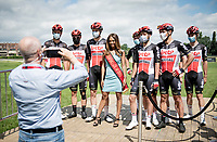 Team Lotto-Soudal getting forced into a photo-opp with Miss Belgium at the presentation at the race start in the Waregem Hippodrome <br /> <br /> Belgian National Championships 2021 - Road Race<br /> <br /> One day race from Waregem to Waregem (221km)<br /> <br /> ©kramon