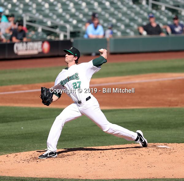 Daniel Lynch of the Surprise Saguaros pitches in the 2019 Arizona Fall League championship game at Salt River Fields on October 26, 2019 in Scottsdale, Arizona (Bill Mitchell)