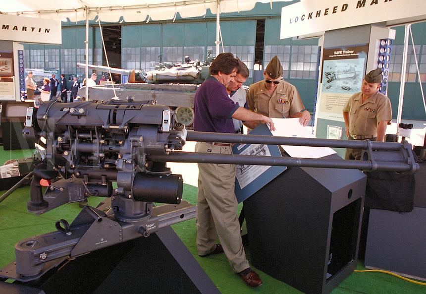"CAU-19A Gatling Gun on display at the """"Modern Marine"""" military arms show at the Quantico Marine Corps Base. Quantico Virginia."