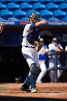 Michigan Wolverines catcher Harrison Salter (11) points to the first base umpire for a check swing during a game against Army West Point on February 18, 2018 at Tradition Field in St. Lucie, Florida.  Michigan defeated Army 7-3.  (Mike Janes/Four Seam Images)