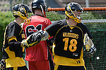 GER - Hannover, Germany, May 30: During the Men Lacrosse Playoffs 2015 match between HTHC Hamburg (black) and DHC Hannover (red) on May 30, 2015 at Deutscher Hockey-Club Hannover e.V. in Hannover, Germany. Final score 17:2. (Photo by Dirk Markgraf / www.265-images.com) *** Local caption *** Kilian Bombosch #18 of HTHC Hamburg