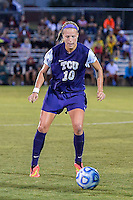 TCU forward Michelle Prokof (10) during NCAA soccer game, Friday, September 12, 2014 in San Marcos, Tex. TCU defeated Texas State 1-0. (Mo Khursheed/TFV Media via AP Images)