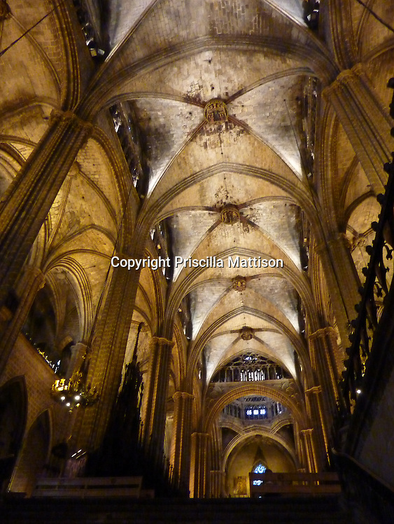Barcelona, Spain 0 January 30, 2011:  Barcelona Cathedral has a vaulted ceiling.
