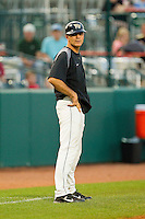 Wake Forest Demon Deacons head coach Tom Walter #32 coaches third base during the game against the Miami Hurricanes at NewBridge Bank Park on May 25, 2012 in Winston-Salem, North Carolina.  The Hurricanes defeated the Demon Deacons 6-3.  (Brian Westerholt/Four Seam Images)
