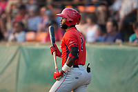 Torii Hunter Jr. (2) of the Orem Owlz waits for his turn to bat during the game against the Helena Brewers at Kindrick Legion Field on August 17, 2017 in Helena, Montana.  The Owlz defeated the Brewers 5-2.  (Brian Westerholt/Four Seam Images)