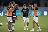 SAN JOSE, CA - SEPTEMBER 19: Portland Timbers players warming up during a game between Portland Timbers and San Jose Earthquakes at Earthquakes Stadium on September 19, 2020 in San Jose, California.