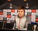 23.10.2019 Rangers press conference , Porto: Steven Gerrard's wife phones him during the press conference