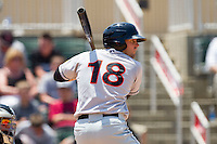 Wade Moore #18 of the Hagerstown Suns at bat against the Kannapolis Intimidators at Fieldcrest Cannon Stadium on May 30, 2011 in Kannapolis, North Carolina.   Photo by Brian Westerholt / Four Seam Images