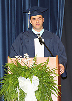 Brian Munn, Senior Class President, introduces the commencement speaker, Kevin O'Shea.