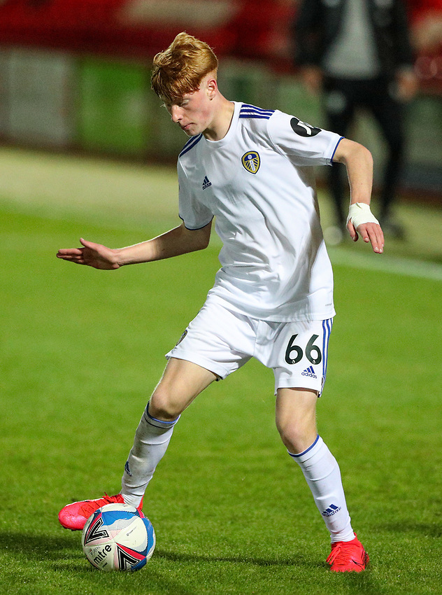 Leeds United U21's Owen Bray<br /> <br /> Photographer Alex Dodd/CameraSport<br /> <br /> EFL Trophy Northern Section Group G - Accrington Stanley v Leeds United U21 - Tuesday 8th September 2020 - Crown Ground - Accrington<br />  <br /> World Copyright © 2020 CameraSport. All rights reserved. 43 Linden Ave. Countesthorpe. Leicester. England. LE8 5PG - Tel: +44 (0) 116 277 4147 - admin@camerasport.com - www.camerasport.com