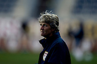 USWNT head coach Pia Sundhage watches her team before an international friendly at PPL Park in Chester, PA.  The U.S. tied China, 1-1.