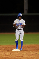 AZL Dodgers Lasorda Aldrich De Jongh (3) celebrates after hitting a double during an Arizona League game against the AZL White Sox at Camelback Ranch on June 18, 2019 in Glendale, Arizona. AZL Dodgers Lasorda defeated AZL White Sox 7-3. (Zachary Lucy/Four Seam Images)