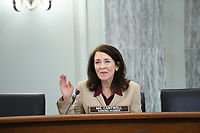 United States Senator Maria Cantwell (Democrat of Oregon), Ranking Member, US Senate Committee on Commerce, Science, & Transportation, asks a question during an oversight hearing to examine the Federal Communications Commission in Washington, DC on June 24, 2020. The hearing was held by the Senate Committee for Commerce, Science, and Transportation.<br /> Credit: Jonathan Newton / Pool via CNP/AdMedia