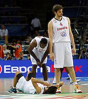 Spanish national basketball players Llull Sergio, Ibaka Srge and Pau Gasol  during final Eurobasket 2011 game between Spain and France in Kaunas, Lithuania, Sunday, September 18, 2011. (photo: Pedja Milosavljevic)