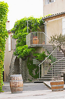 Chateau de Lascaux, Vacquieres village. Pic St Loup. Languedoc. The main building. France. Europe. The name of the chateau on a barrel.