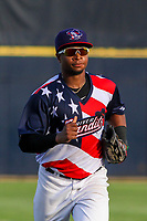 Quad Cities River Bandits outfielder Corey Julks (15) jogs in from the outfield between innings during a Midwest League game against the Peoria Chiefs on May 27, 2018 at Modern Woodmen Park in Davenport, Iowa. Quad Cities defeated Peoria 8-3. (Brad Krause/Four Seam Images)