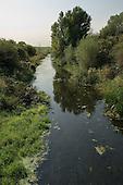 The River Lea as it passes through Tottenham Marshes, East London.