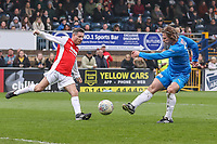 Gareth Ainsworth (right) scores his first goal under pressure from Dean Gaffney during the Celebrity football match in aid of the charity's 'Keep Moving Forward' programme which benefits people with mental health issues put together by Wycombe Wanderers Sports & Education Trust and Sellebrity Soccer Football Match at Adams Park, High Wycombe, England on 7 April 2019. Photo by David Horn.