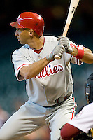 Philadelphia Phillies outfielder Raul Ibanez #29 at bat during the Major League Baseball game against the Houston Astros at Minute Maid Park in Houston, Texas on September 14, 2011. Philadelphia defeated Houston 1-0 to clinch a playoff berth.  (Andrew Woolley/Four Seam Images)