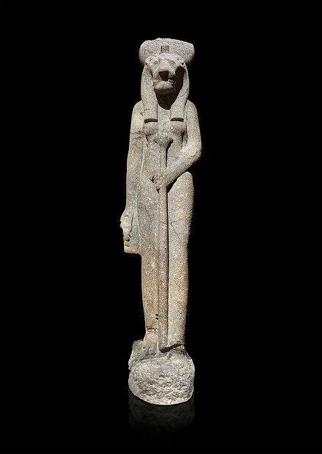 """Ancient Egyptian statue of goddess Sekhmet, grandodiorite, New Kingdom, 18th & 20thDynasty (1390-1150 BC), Thebes. Egyptian Museum, Turin. black background.<br /> <br /> Sekhmet, """"the Powerful One"""" was a fearsome goddess symbolised by her lioness head. Daughter of the sun she personifies the disk of the world during the day. Sekhmet is the angry manifestation of Hathor inflicting the scourges of summer heat, famine and illness which is why the goddess needed to be exorcised every day. Drovetti Collection. C 263"""