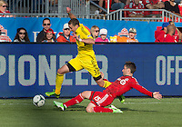 18 May 2013: Columbus Crew defender Josh Williams #3 and Toronto FC midfielder Bobby Convey #15 in action during an MLS game between the Columbus Crew and Toronto FC at BMO Field in Toronto, Ontario Canada..The Columbus Crew won 1-0...
