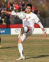 Billy Cortes #7 of the University of Maryland during an NCAA quarter-final match against the University of Michigan at Ludwig Field, University of Maryland, College Park, Maryland on December 4 2010.Michigan won 3-2 AET.