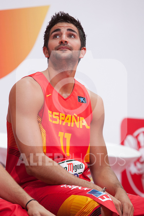 Ricky Rubio during the official presentation of Spain´s basketball team for the 2014 Spain Basketball Championship in Madrid, Spain. July 24, 2014. (ALTERPHOTOS/Victor Blanco)