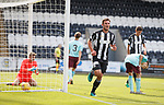 John Sutton head in past keeper Mason Kelby to score the third goal for St Mirren