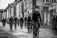 Peloton  rolling through town. <br /> <br /> 78th Euro Metropole Tour 2018<br /> La Louvière – Tournai (BEL): 206km