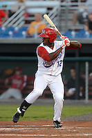 Auburn Doubledays outfielder Brenton Allen (12) during the second game of a double header against the Batavia Muckdogs on August 28, 2013 at Falcon Park in Auburn, New York.  Batavia defeated Auburn 3-0.  (Mike Janes/Four Seam Images)