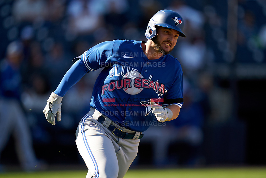 Toronto Blue Jays Forrest Wall (82) runs to first base during a Spring Training game against the New York Yankees on February 22, 2020 at the George M. Steinbrenner Field in Tampa, Florida.  (Mike Janes/Four Seam Images)