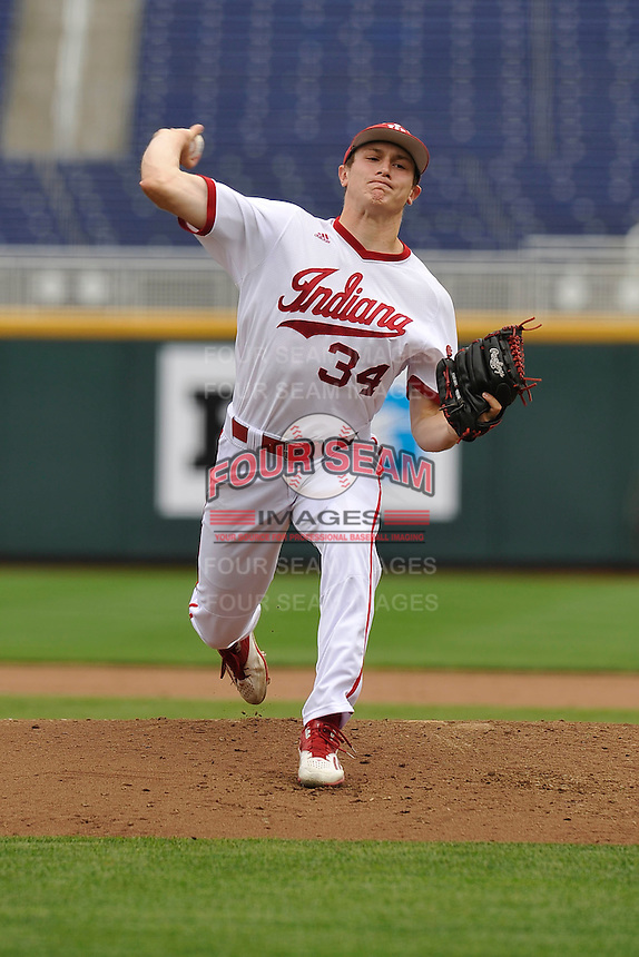 Indiana Hoosiers Jonathan Stiever (34) throws during the Big Ten Tournament game against the Maryland Terrapins at TD Ameritrade Park on May 25, 2016 in Omaha, Nebraska.  Maryland  won 5-3.  (Dennis Hubbard/Four Seam Images)