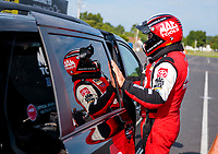 Aug 9, 2020; Clermont, Indiana, USA; NHRA top fuel driver Doug Kalitta during the Indy Nationals at Lucas Oil Raceway. Mandatory Credit: Mark J. Rebilas-USA TODAY Sports