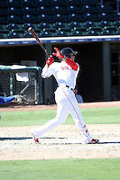 Yoan Moncada of the Surprise Saguaros hits a homerun in his third at-bat in the Arizona Fall League season opener at Surprise Stadium on October 11, 2016 in Surprise Arizona. A member of the Boston Red Sox organization, Moncada is the consensus top minor league player for 2016 (Bill Mitchell)