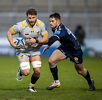 27th December 2020; AJ Bell Stadium, Salford, Lancashire, England; English Premiership Rugby, Sale Sharks versus Wasps; Michael Le Bourgeois of Wasps is tackled by Luke James of Sale Sharks