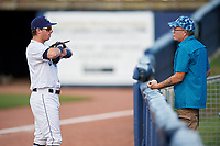 Charlotte Stone Crabs designated hitter Brendan McKay (31) talks with a fan before a game against the Bradenton Marauders on August 6, 2018 at Charlotte Sports Park in Port Charlotte, Florida.  Charlotte defeated Bradenton 2-1.  (Mike Janes/Four Seam Images)