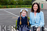 Catherine DAly welcoming Mariah Coffey to St Olivers NS, Killarney on Monday