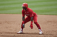 Devonte Brown (3) of the North Carolina State Wolfpack takes his lead off of first base against the North Carolina Tar Heels at Boshamer Stadium on March 27, 2021 in Chapel Hill, North Carolina. (Brian Westerholt/Four Seam Images)