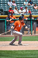 Tyler Heineman (8) of the Fresno Grizzlies at bat against the Salt Lake Bees in Pacific Coast League action at Smith's Ballpark on June 14, 2015 in Salt Lake City, Utah.  (Stephen Smith/Four Seam Images)