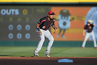 Rochester Red Wings second baseman Luis Arraez (9) on defense against the Charlotte Knights at BB&T BallPark on May 14, 2019 in Charlotte, North Carolina. The Knights defeated the Red Wings 13-7. (Brian Westerholt/Four Seam Images)