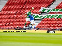22nd May 2021; Hampden Park, Glasgow, Scotland; Scottish Cup Football Final, St Johnstone versus Hibernian;  Ryan Porteous of Hibernian wins a climbing header against Chris Kane of St Johnstone