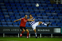 15th September 2020; Madejski Stadium, Reading, Berkshire, England; English Football League Cup, Carabao Cup Football, Reading versus Luton Town; Danny Hylton tussles with Tom McIntyre for the high ball